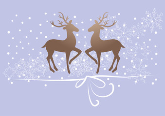 reindeer, deer on purple background, snow, gift ribbon