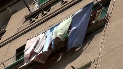 Underwear drying on the rope at the balcony. Barcelona