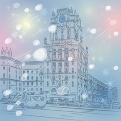 Vector Christmas winter cityscape of a city-center