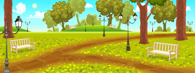 Park with benches and street lamps.