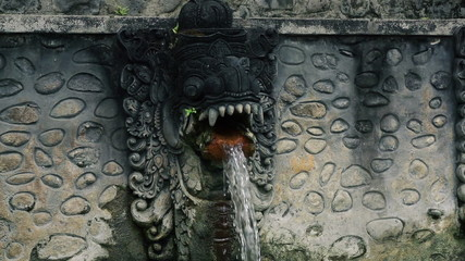 Water flowing from dragon sculpture, hot springs Bali