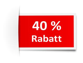 Schild Rabatt 40 Prozent