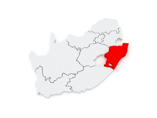 Map of KwaZulu-Natal (Pietermaritzburg). South Africa.