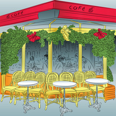 vector sketch of the Parisian cafe