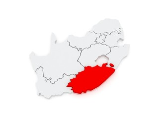 Map of Eastern Cape (Bisho). South Africa.