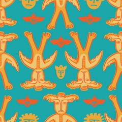 vector man-moose seamless pattern blue