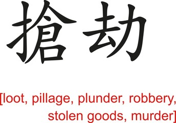 Chinese Sign for loot, pillage, plunder, robbery, murder