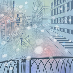 vector winter Christmas cityscape with  the Bridge of Sighs in V