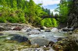Most żelazny nad górskim strumieniem .Alpy ,Włochy