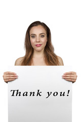 Young Pretty Brunette Girl Holding a Thank You Banner. White Bac