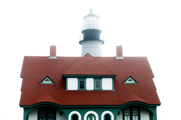 Red Keepers Roof and Foggy Lighthouse