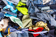 Background pile of scrap fabrics  Derived from sewing repairs - 67407410