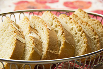 Slices of bread in basket