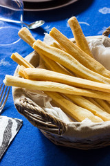 basket of homemade breadsticks