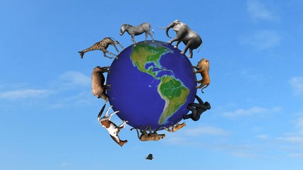 animals circle the world globe
