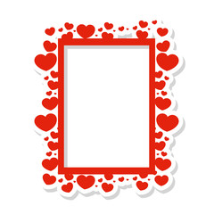 Vector frame of hearts