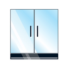 Glass doors on white background