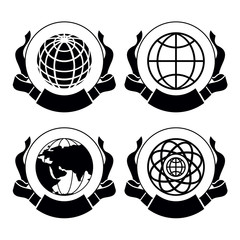 Vector  set of emblems Globes
