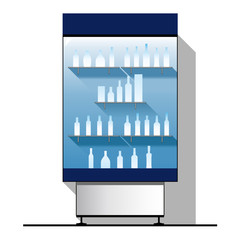 Vector glass showcase with bottles