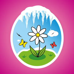 Vector spring flower illustration in frame