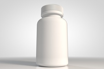 White bottle for medecine 3d and supplement