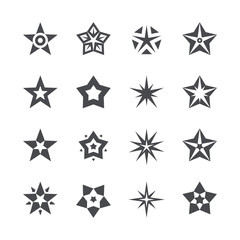 Vector stars set on a white background