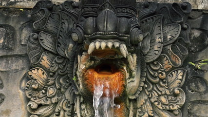 Water flowing from dragon sculpture in hot springs Bali