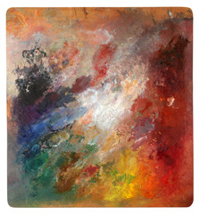 Wooden palette with mixed paints