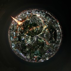 Aerial 360 degree view of Tokyo, Japan at night