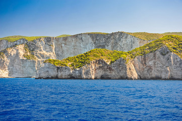 Coast of Greece, Navagio beach, Zakynthos island, Greece. View