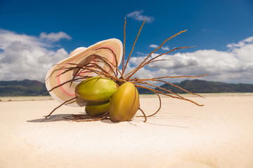 hat above a bunch of coco nuts on the beach