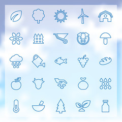 25 agriculture, farm icons set