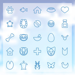 25 animals, pets icons set