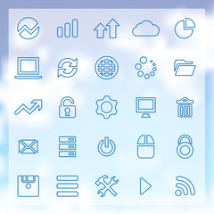 25 big data, database icons set