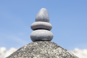Stack of pebble stones at the beach