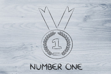 number one, gold medal symbol