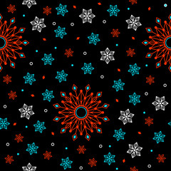 Geometric flowers seamless pattern.