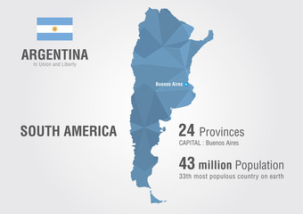 Argentina world map with a pattern of pixel diamond.