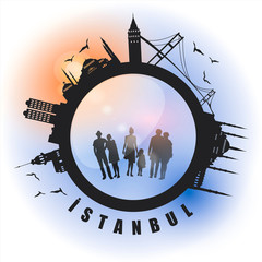 silhouette lens vector of istanbul