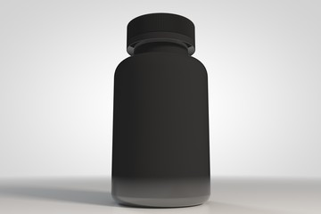 Black bottle for medecine 3d and supplement