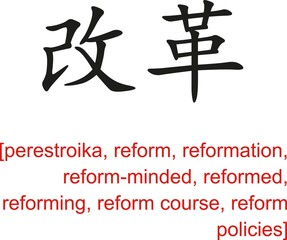 Chinese Sign for perestroika, reform, reformation, reforming