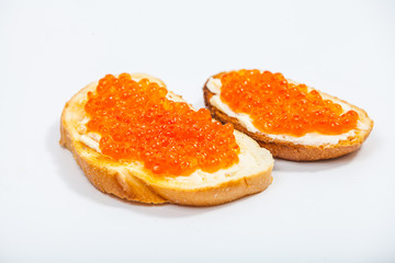 Sandwiches with salmon red caviar