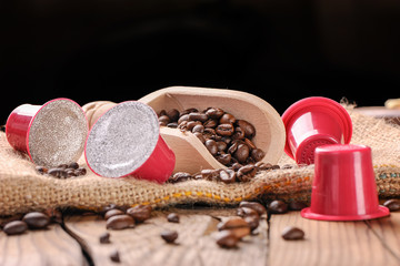 Coffee beans and capsules