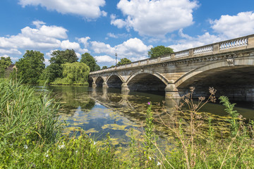 Serpentine Lake and Serpentine Bridge in Hyde Park in the