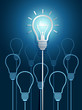 light bulb ideas with light bulbs on blue background