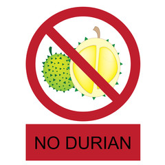 vector no durian allowed label