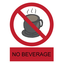 vector no beverage allowed label