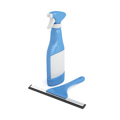 Squeegee and glass cleaner spray bottle