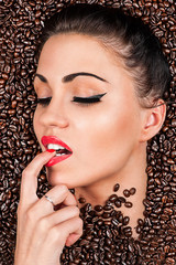 seductive woman in the coffee beans