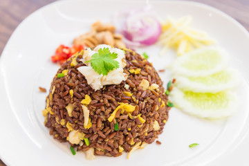 Fried rice with curry crab